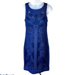 SUE WONG Dress Sheath Lace Embroidered Navy Blue 4